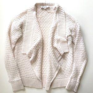 LOFT Draped Front Chunky Knit Cardigan in Cream